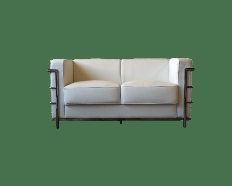 Classic 2er Sofa - weiss mieten rent-a-lounge 1
